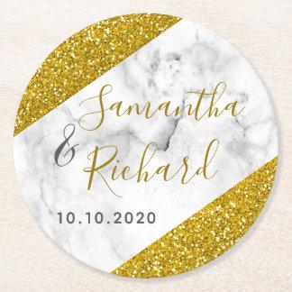 白い大理石および金ゴールドのグリッターの結婚式 ラウンドペーパーコースター