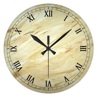 白い大理石の模造のな終わりのWallclockのローマ数字 ラージ壁時計