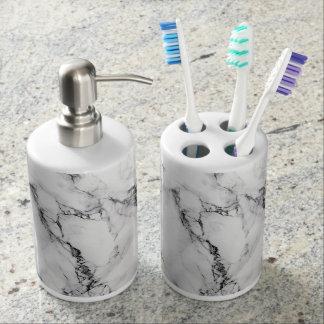 白い大理石の歯ブラシのホールダーのソープディスペンサーセット 歯ブラシスタンド