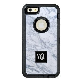 白い大理石の質の黒のアクセントのモノグラム オッターボックスディフェンダーiPhoneケース