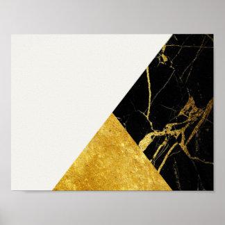 白い大理石の金ぱく基本的なポスター ポスター