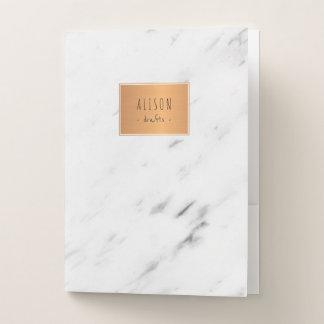 白い大理石の銅の幾何学的で粋でシックな学校 ポケットフォルダー
