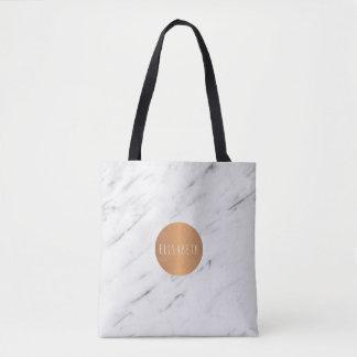 白い大理石の銅の幾何学的なモノグラムの本 トートバッグ