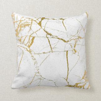 白い大理石-装飾用クッションの金ゴールド クッション