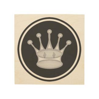 白い女王のチェスアイコン ウッドウォールアート