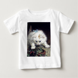 白い子ネコ猫ペットかわいい動物の旧式な絵画 ベビーTシャツ