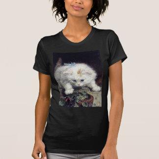 白い子ネコ猫ペットかわいい動物の旧式な絵画 Tシャツ