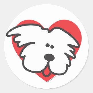 白い子犬 ラウンドシール