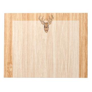 白い尾シカの木製の穀物のスタイルのグラフィック ノートパッド