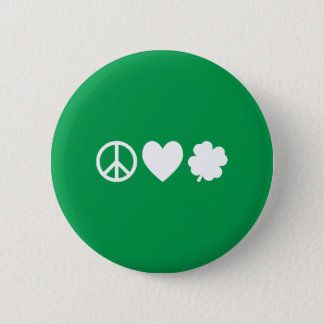 白い平和愛及びシャムロック 缶バッジ