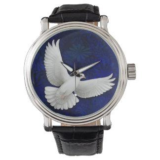 白い平和鳩の腕時計 腕時計