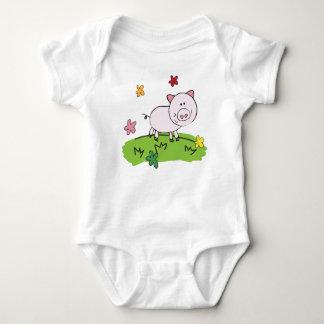白い幼児クリーパー。 甘いコブタ ベビーボディスーツ