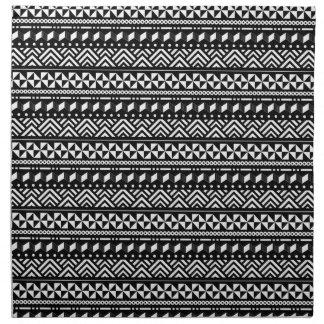 白い幾何学的のモダンな種族の黒 ナプキンクロス
