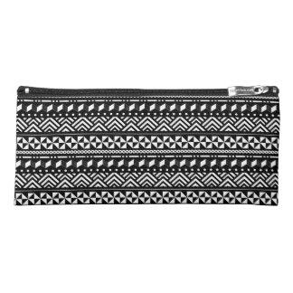 白い幾何学的のモダンな種族の黒 ペンシルケース