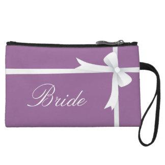 白い弓、花嫁との紫色 クラッチ