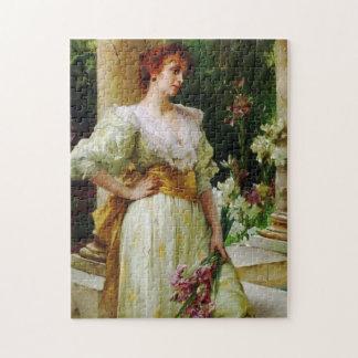 白い把握アイリスファインアートの女性 ジグソーパズル