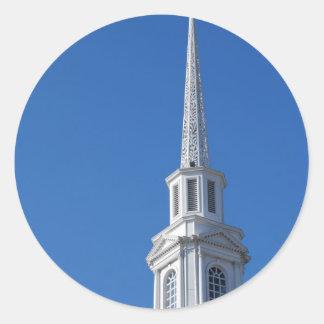白い教会尖塔 ラウンドシール