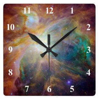 白い数を用いるオリオンの星雲 スクエア壁時計