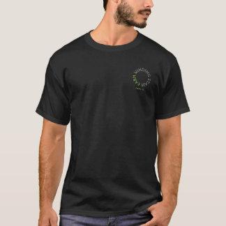 白い文字との巻上げ階段農場のロゴ Tシャツ