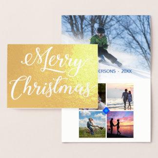 白い斑点のエンボスのクリスマス5の写真のコラージュ 箔カード