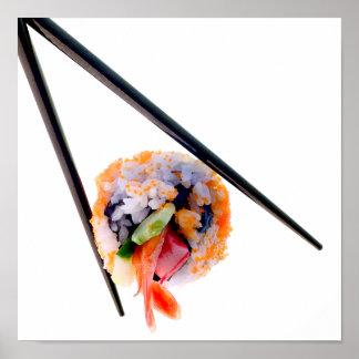 白い日本の寿司のエビロール黒の箸 ポスター