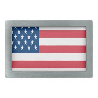 白い星が付いている米国旗 長方形ベルトバックル