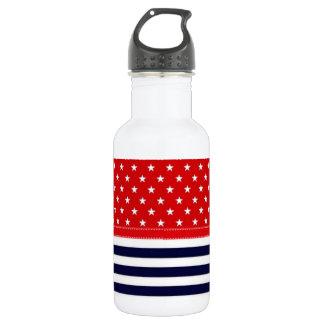 白い星が付いている赤い白いそして青は及び縞で飾ります ウォーターボトル