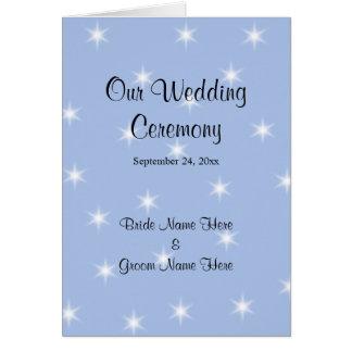 白い星との淡いブルーの結婚式プログラム カード