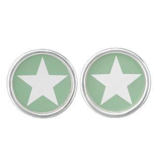 白い星の(深緑色の)組のカフスボタン カフスリンク