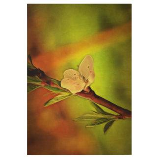白い木の花の絵画 ウッドポスター