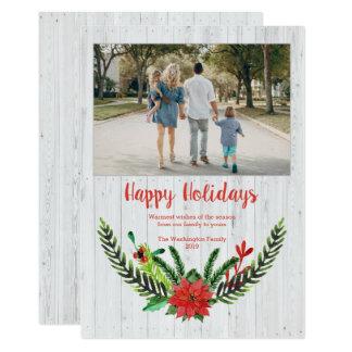 白い木製の板のクリスマスの水彩画のリースの写真 カード