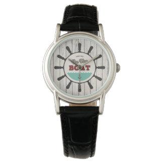 白い木製の腕時計のレトロの航海のな要素 腕時計