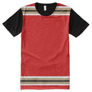白い本当の金ゴールドおよび黒いトリムとの赤 オールオーバープリントT シャツ
