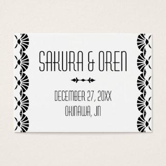 白い東洋のアールデコのスタイルの結婚式の座席表 名刺