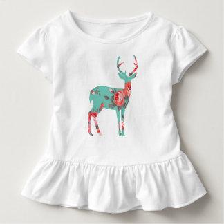 白い森林シカの幼児のひだのティー トドラーTシャツ