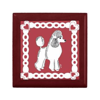 白い標準プードルのクランベリーの赤いタイルのギフト用の箱 ギフトボックス