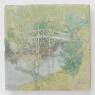 白い橋、c.1895 (キャンバスの油) ストーンコースター