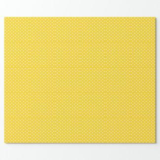 白い水玉模様との黄色 ラッピングペーパー