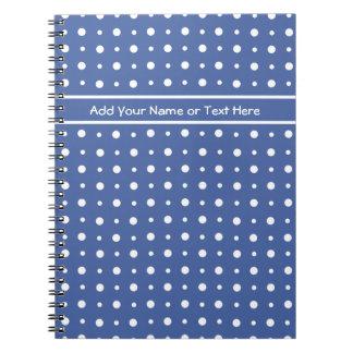 白い水玉模様と濃紺螺線形ノート ノートブック