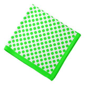 白い水玉模様のライムグリーン、ライムグリーンのボーダー ハンカチーフ