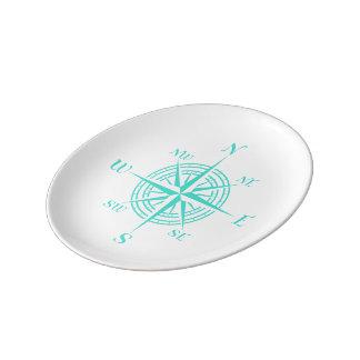 白い沿岸装飾のコンパス面図のターコイズ 磁器プレート