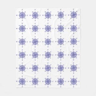 白い沿岸装飾のコンパス面図パターンの青 フリースブランケット