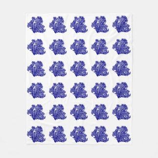 白い沿岸装飾の珊瑚の濃紺 フリースブランケット