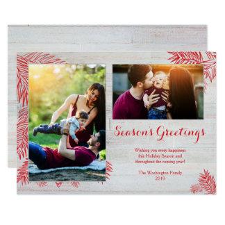 白い洗浄shiplapの木製の板のクリスマス2の写真 カード