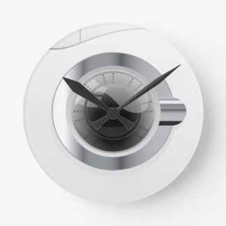 白い洗濯機 ラウンド壁時計