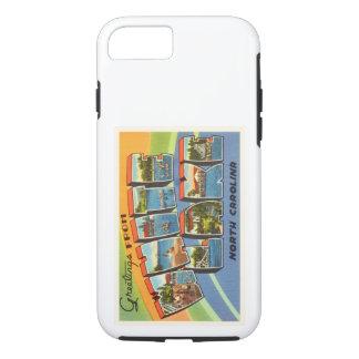 白い湖のノースカロライナNCの古いヴィンテージの郵便はがき iPhone 8/7ケース