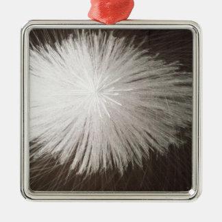 白い火花 シルバーカラー正方形オーナメント