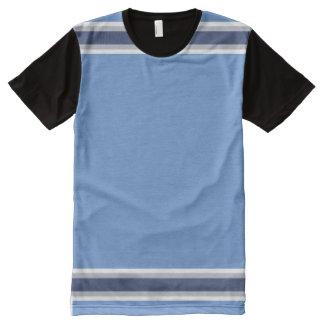 白い灰色および海軍が付いている空色は縞で飾ります オールオーバープリントT シャツ