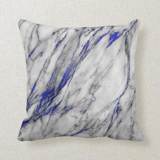 白い灰色のサファイア青い海軍大理石の魅力 クッション