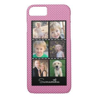 白い点との家族写真のコラージュのピンク iPhone 8/7ケース